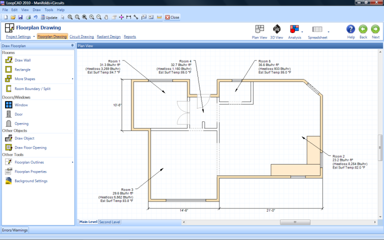 Loopcad radiant heating software Home plan drawing software